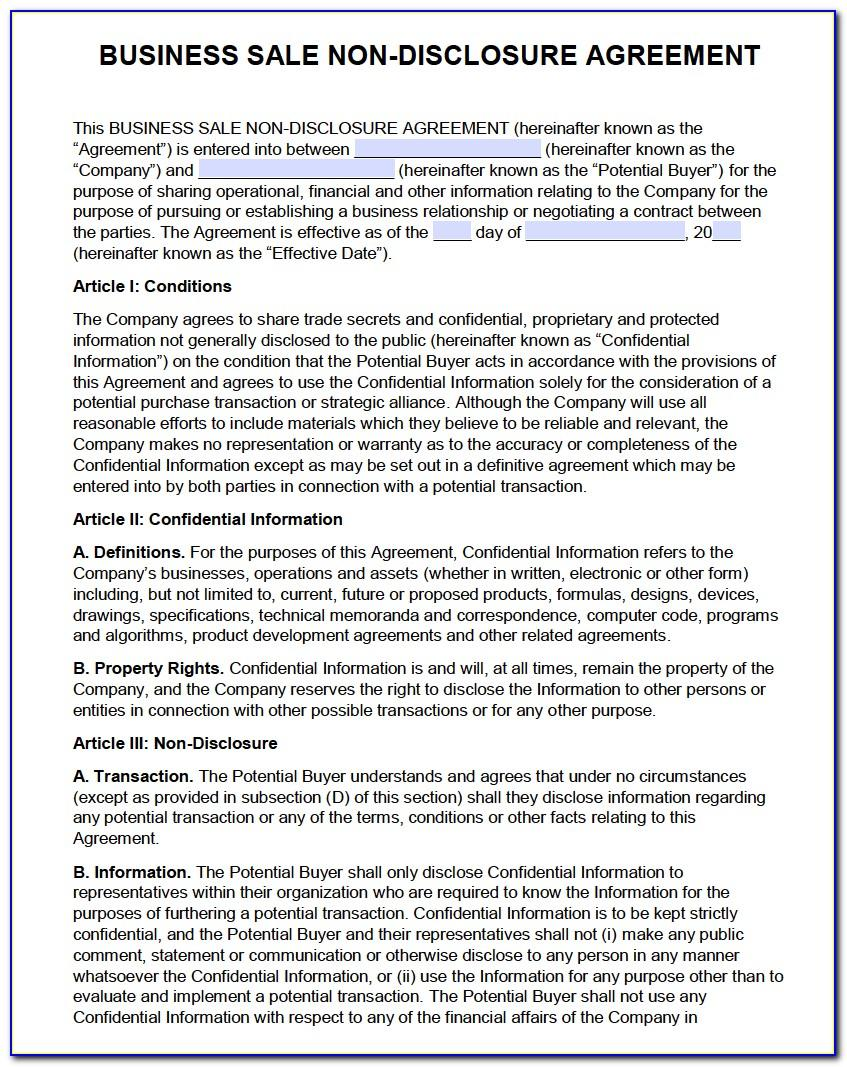Business Sale Confidentiality Agreement Template
