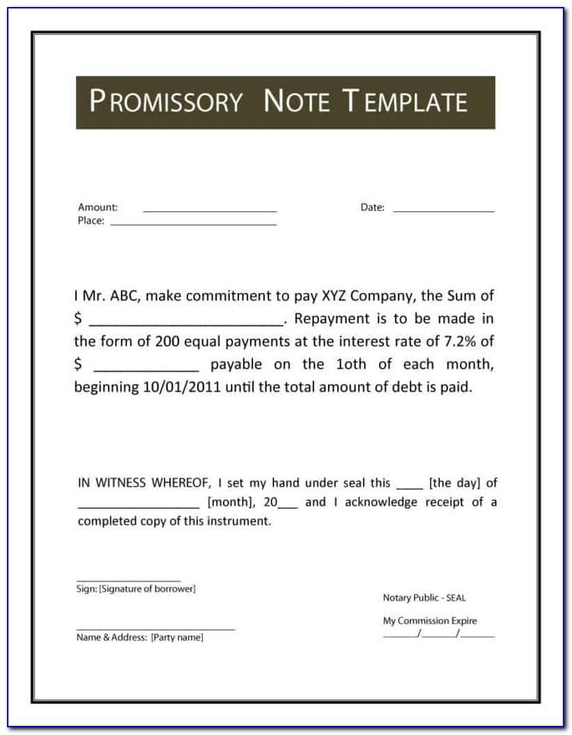 Canadian Promissory Notes Templates Free