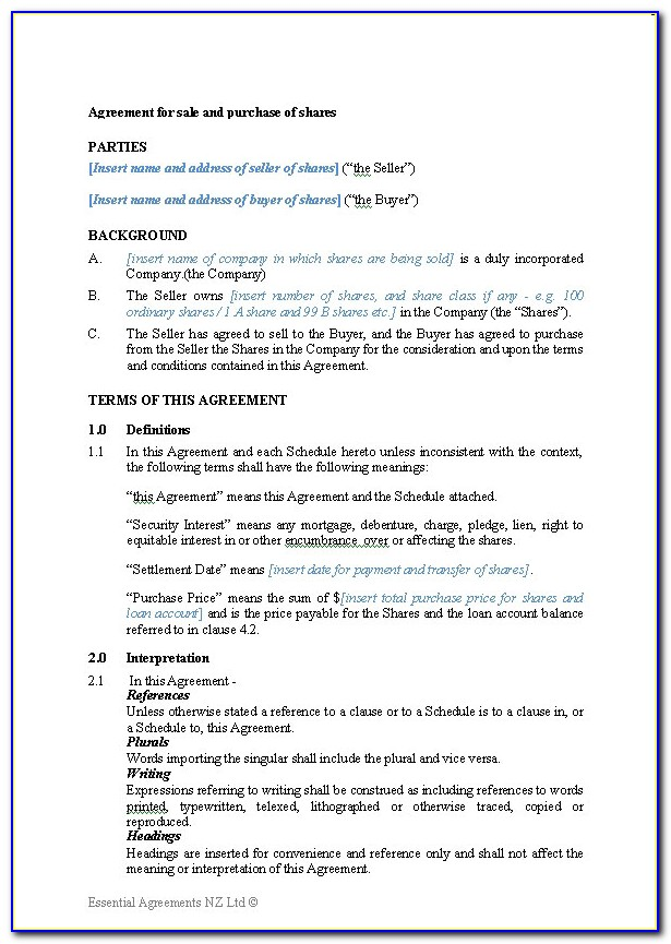 Car Purchase Agreement Template Word