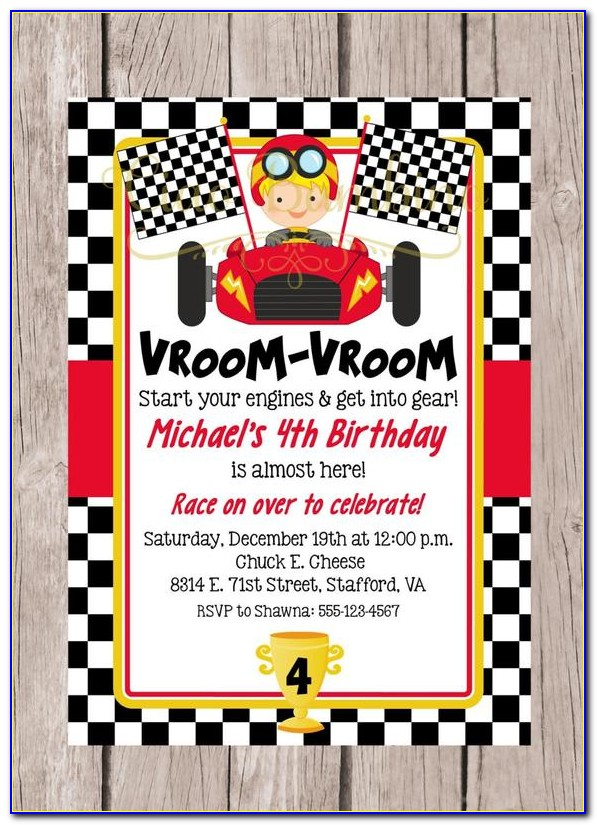 Car Race Birthday Party Invitation Templates