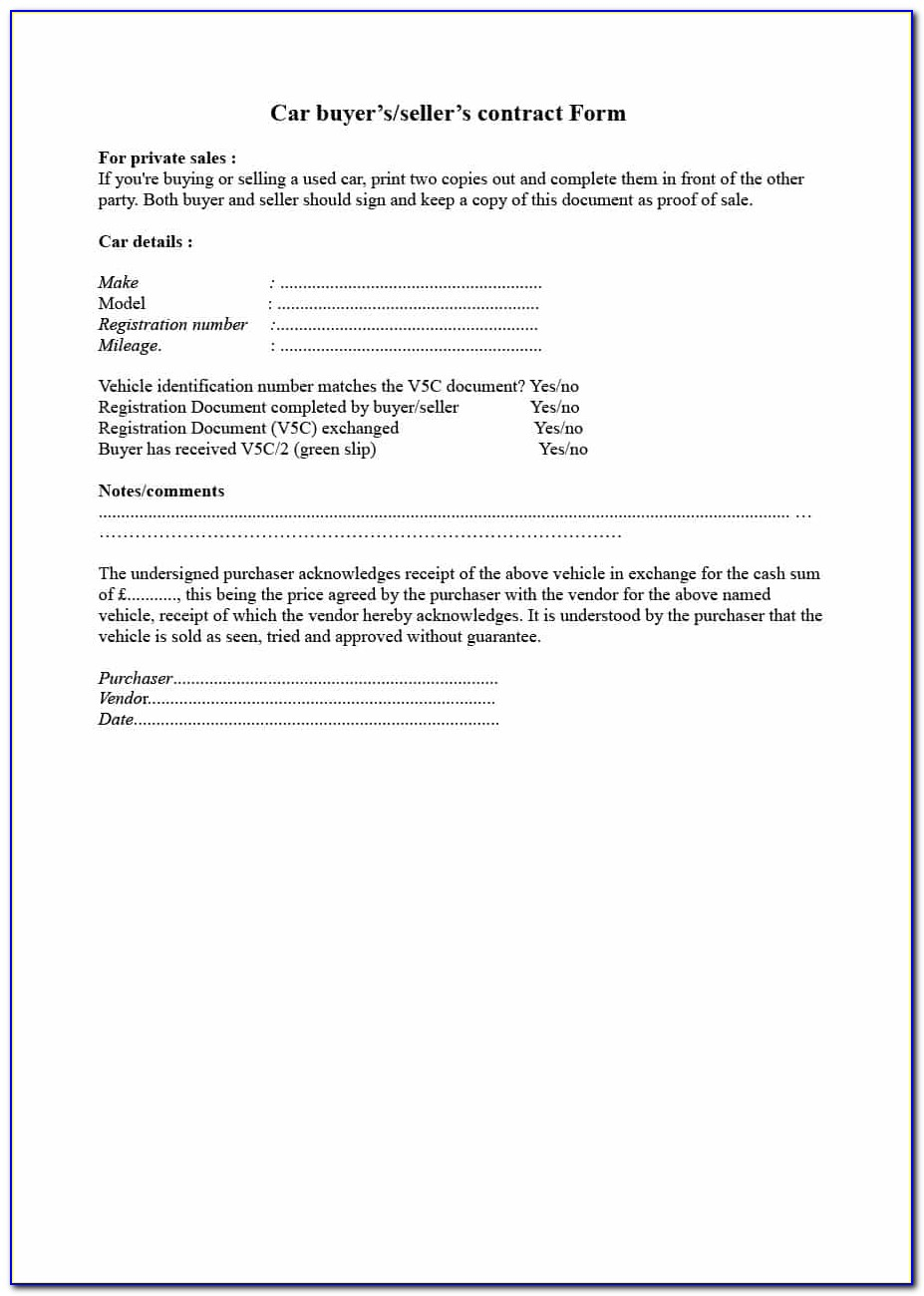 Car Residential Purchase Agreement Sample