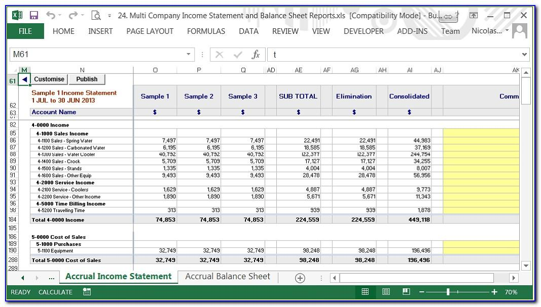 Cash Flow Profit And Loss Balance Sheet Template