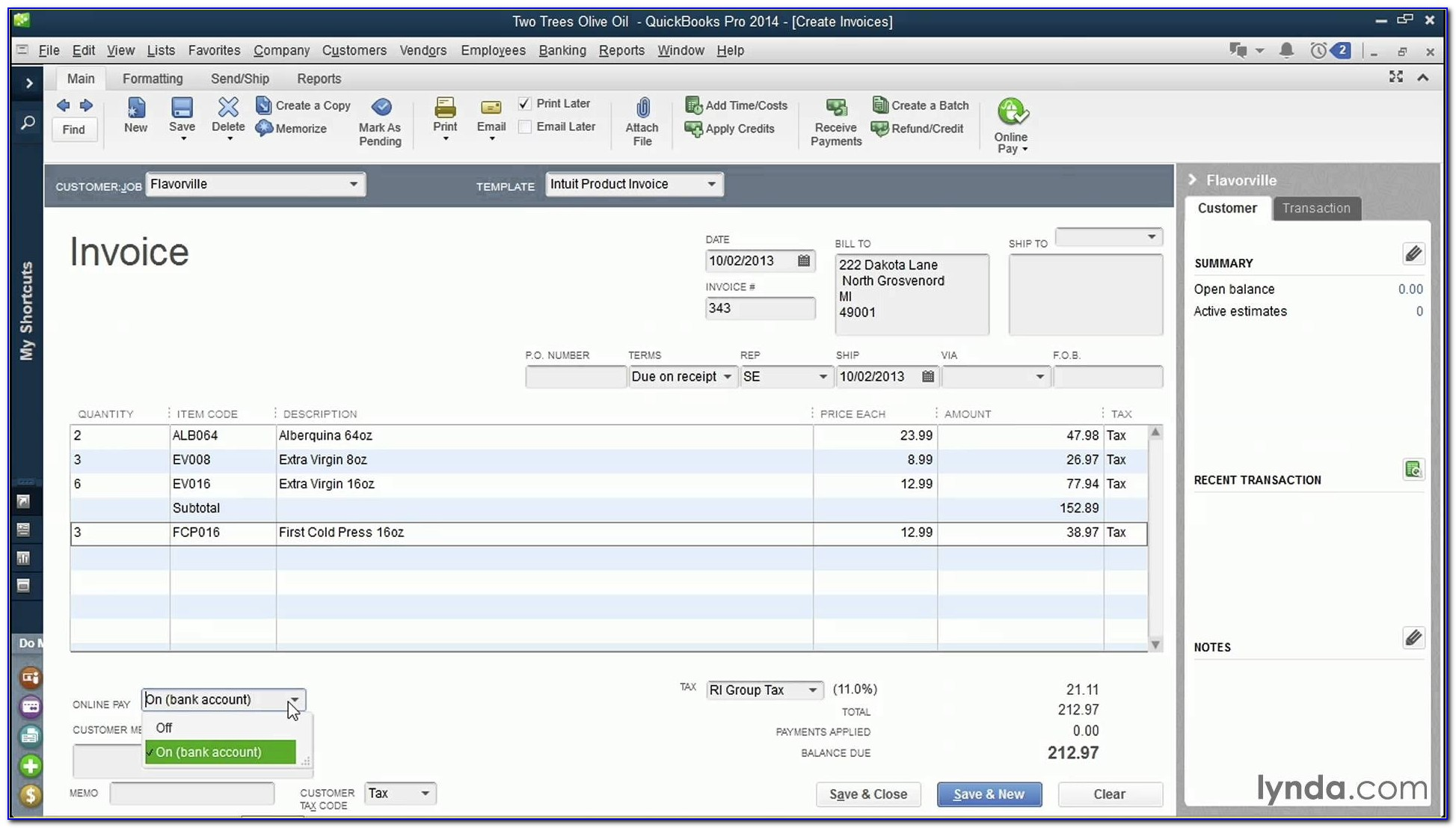 Export Invoice Template Quickbooks 2013