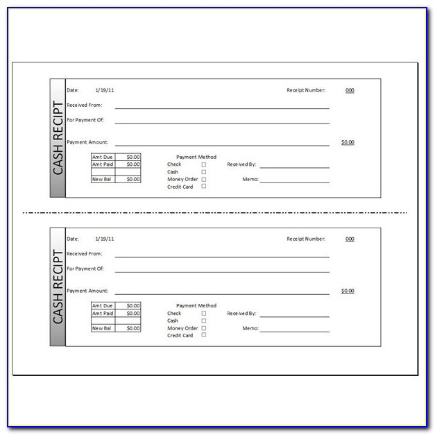 Fillable Cash Receipt Template Excel
