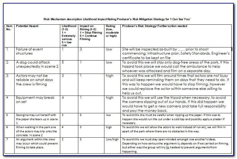 Film Production Risk Assessment Form Template