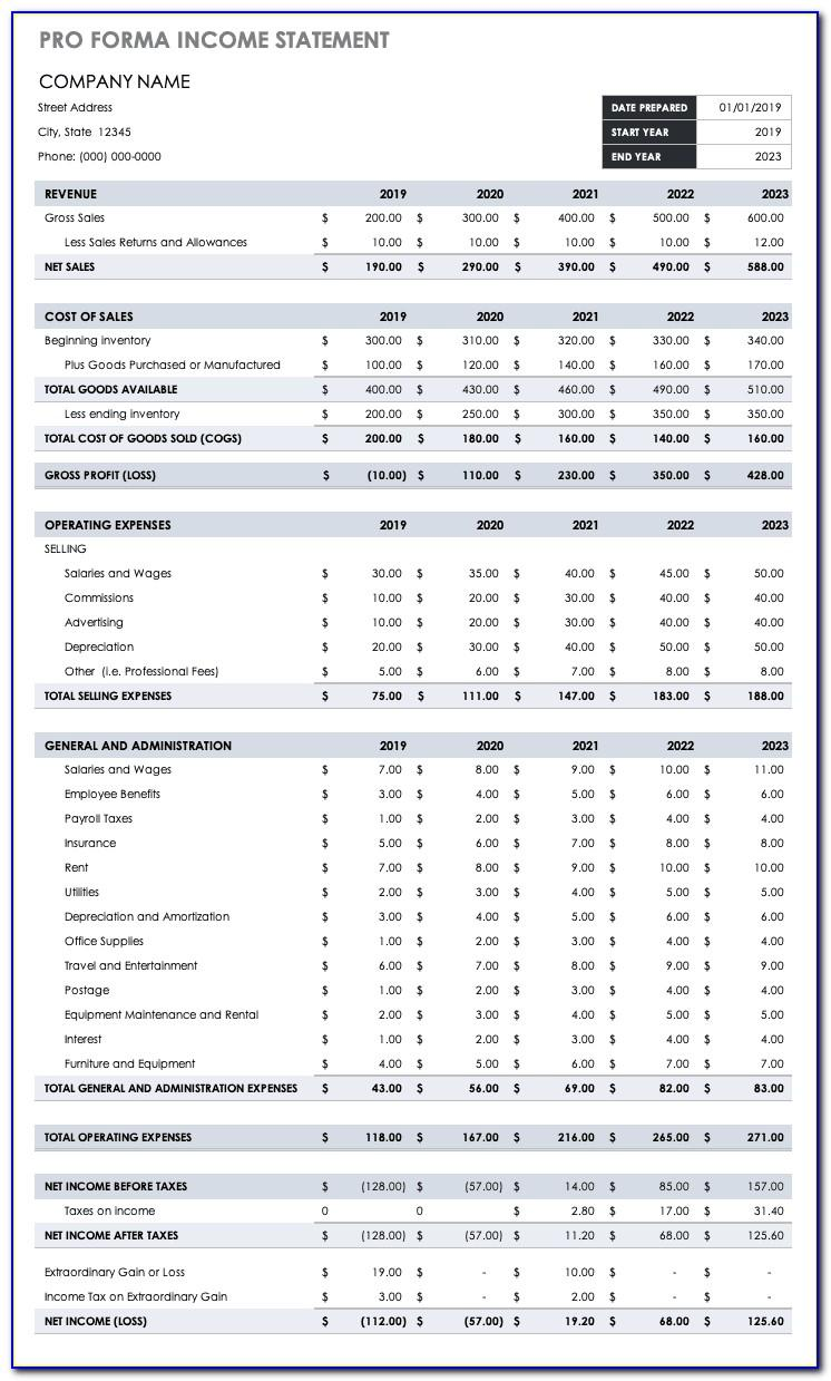 Financial Statements Proforma Example