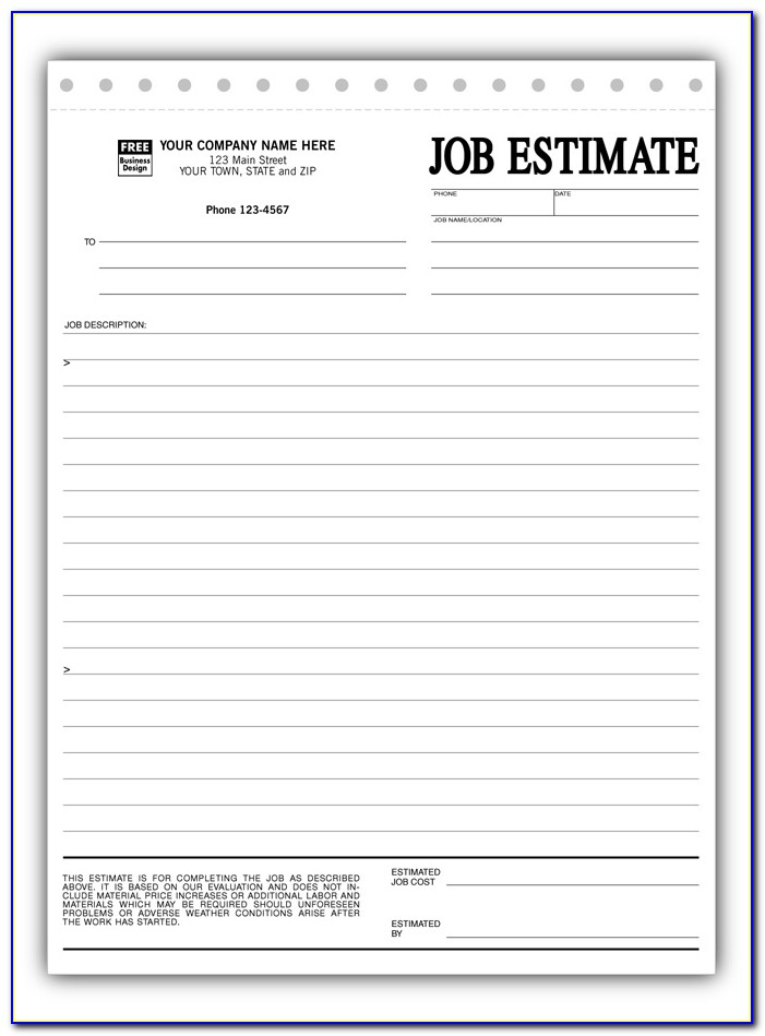 Free Printable Contractor Estimate Forms