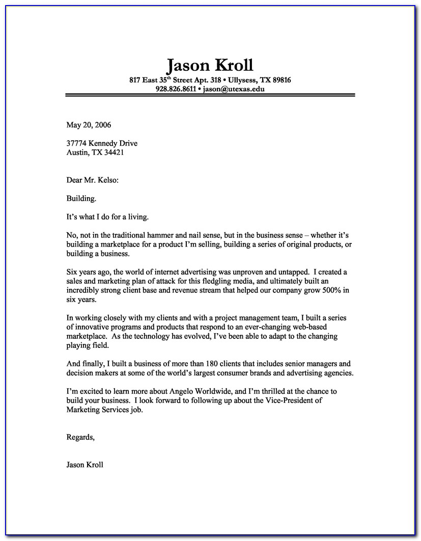 Free Printable Cover Letter Samples