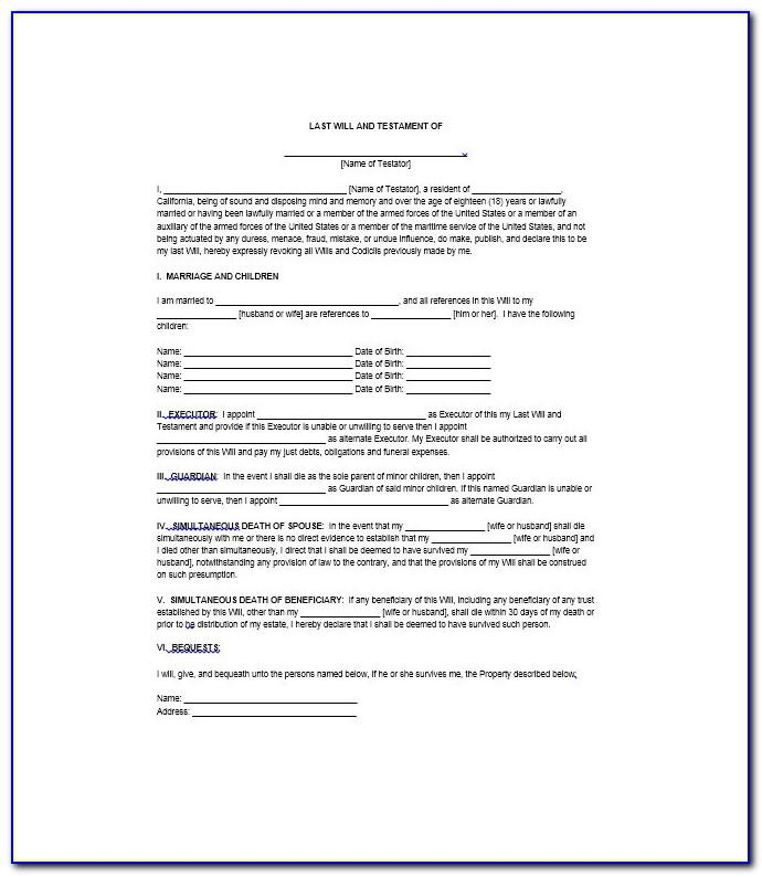 Free Printable Last Will And Testament Forms Texas