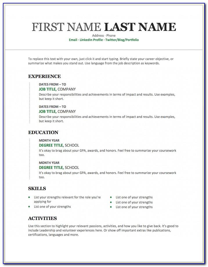 Free Printable Resume Template For Word