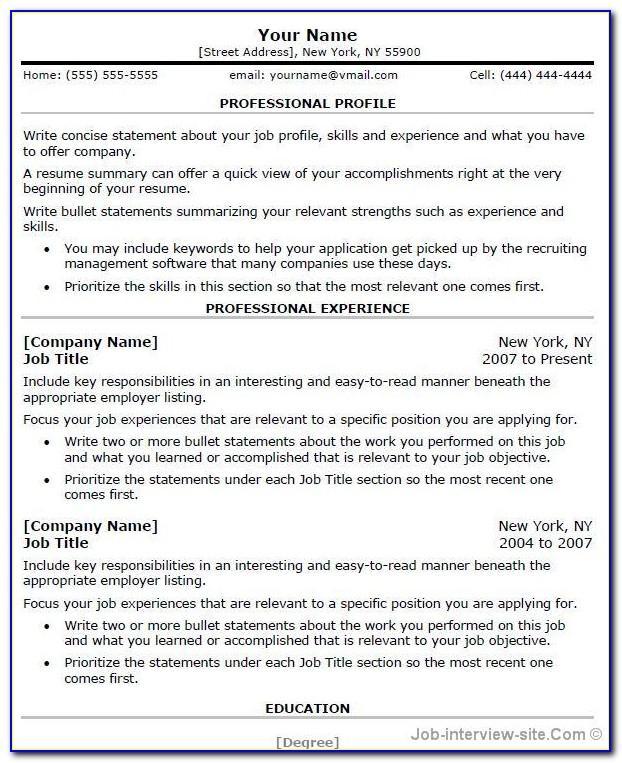 Free Professional Resume Template Microsoft Word