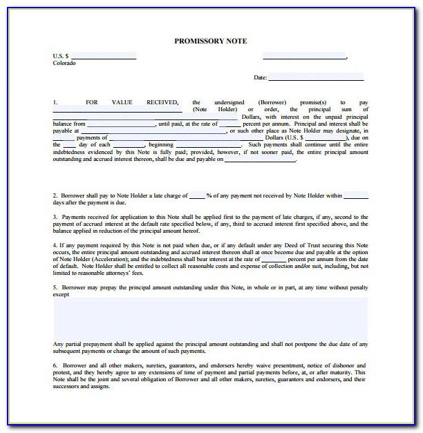 Free Promissory Note With Collateral Template