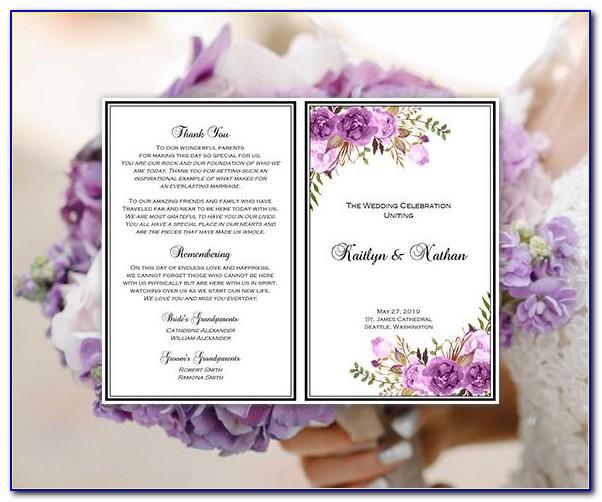 Free Purple Wedding Program Templates