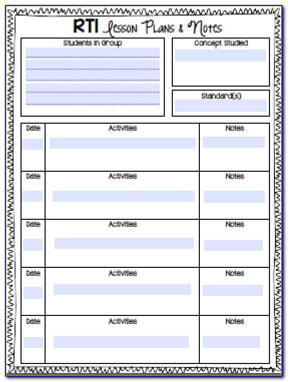 Free Reading Intervention Lesson Plan Template