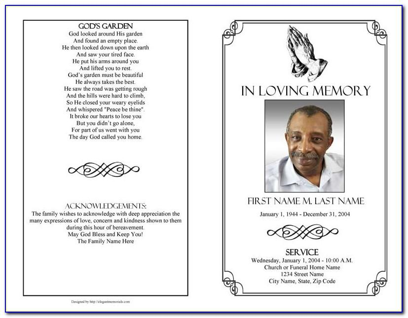Funeral Program Template Order Of Service