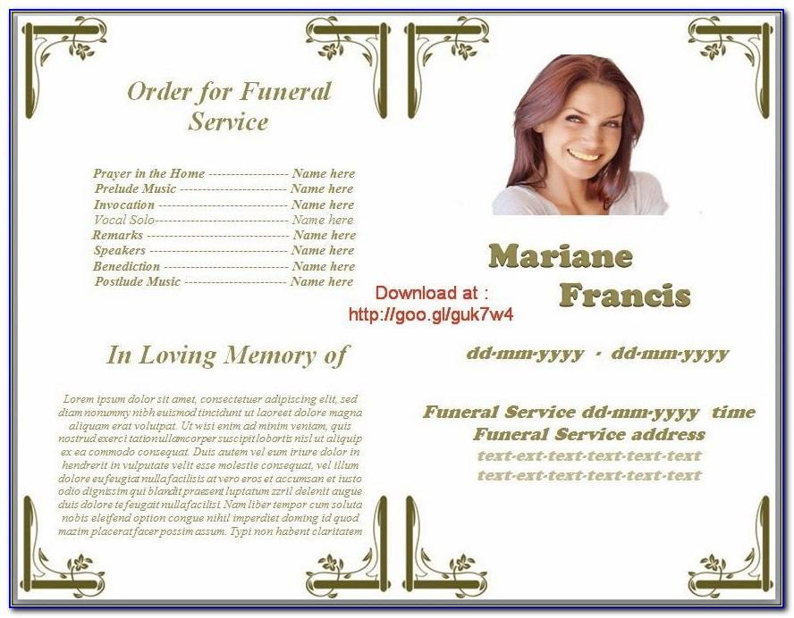 Funeral Service Program Template Publisher