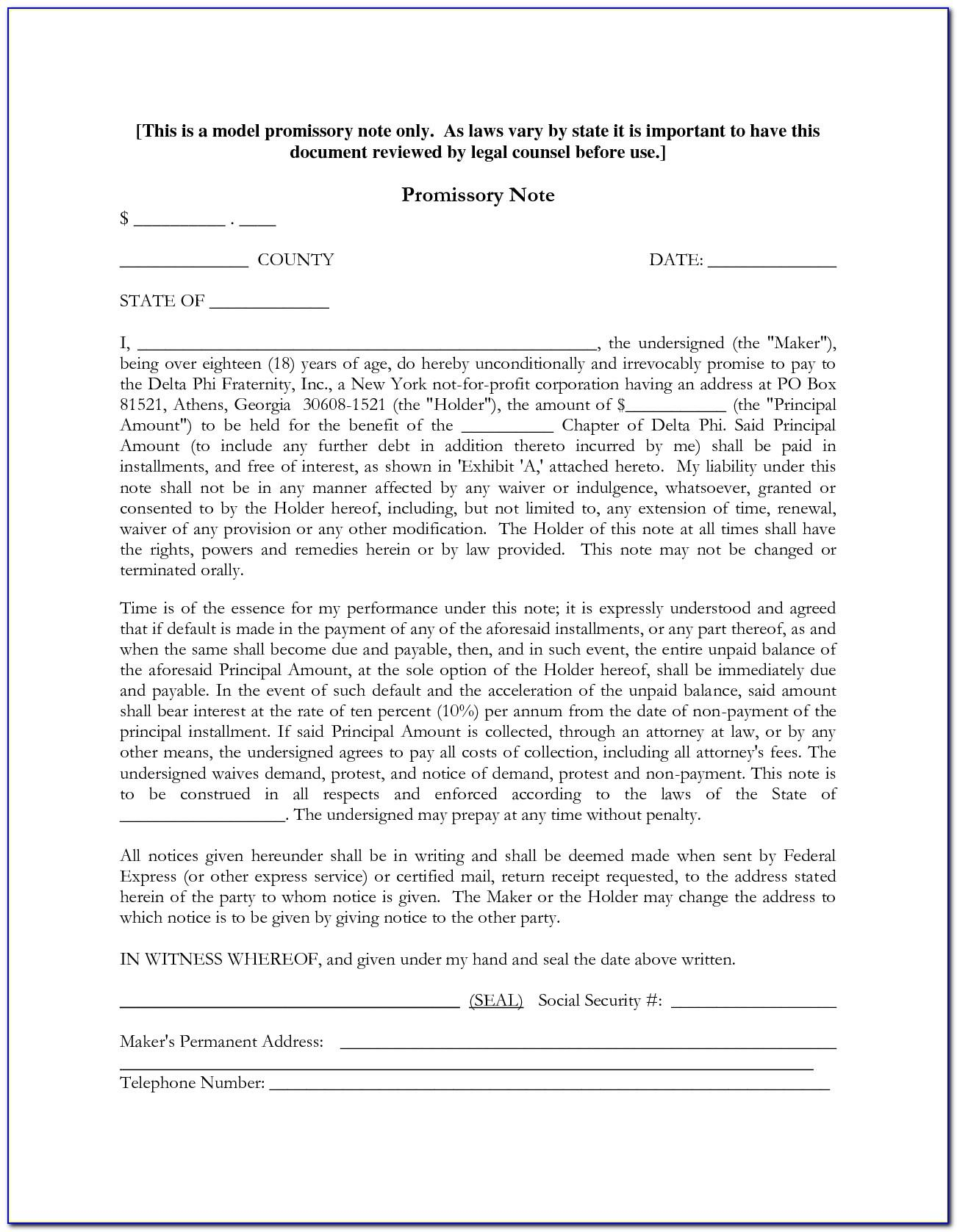 Indian Promissory Note Format Free Download
