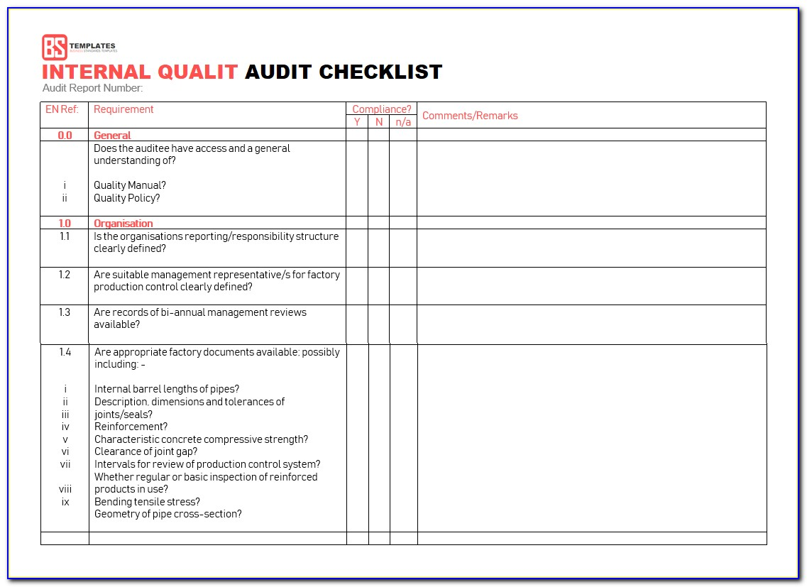 Internal Audit Quality Assurance Checklist Template