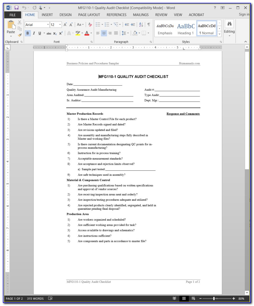 Internal Quality Audit Checklist Sample
