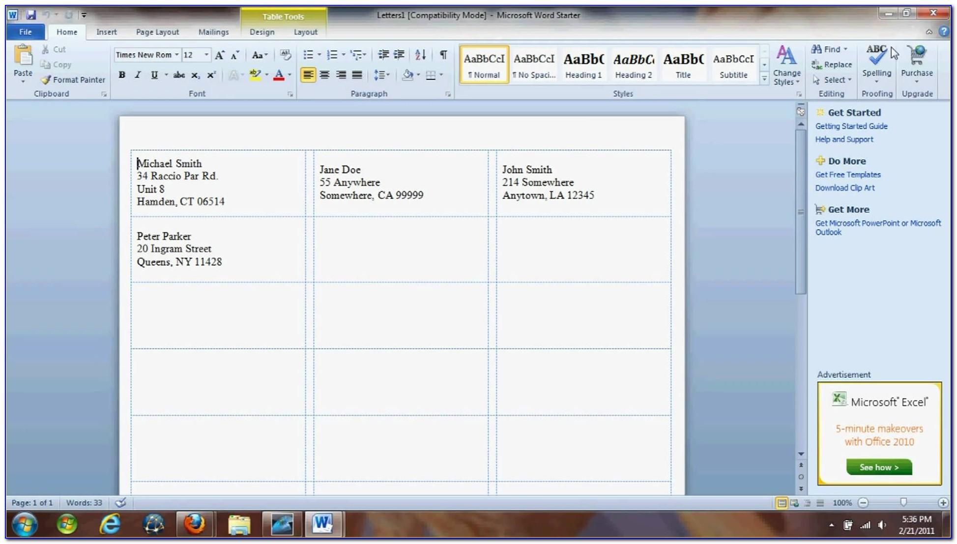 Microsoft Word 2010 Printing Avery Labels