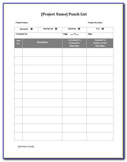 Microsoft Word Punch List Template