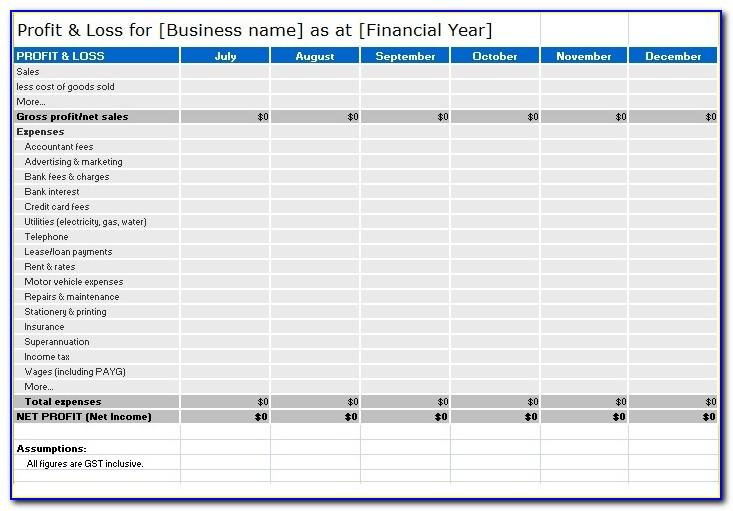 Monthly Profit And Loss Statement Form Free