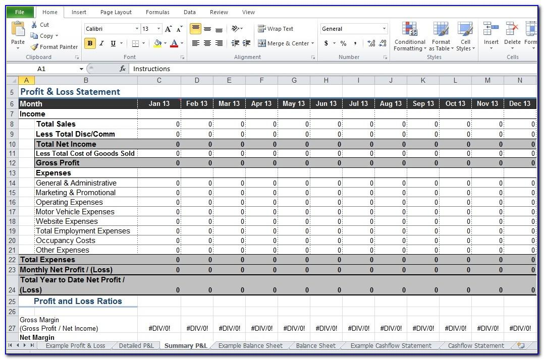 Monthly Profit Loss Excel Template