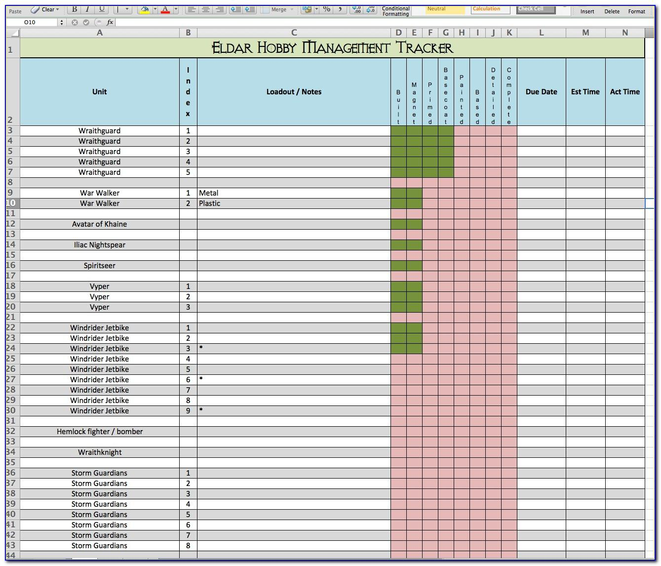 Multiple Project Tracking Excel Sheet