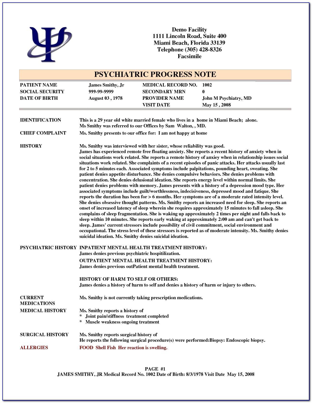 Outpatient Psychiatric Progress Note Template