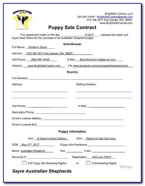 Pet Sales Agreement Template