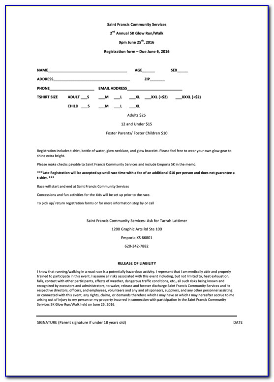 Pigeon Race Entry Form Template