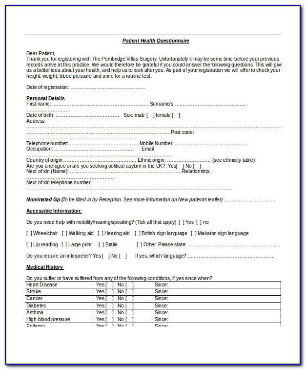 Pre Employment Medical Questionnaire Template