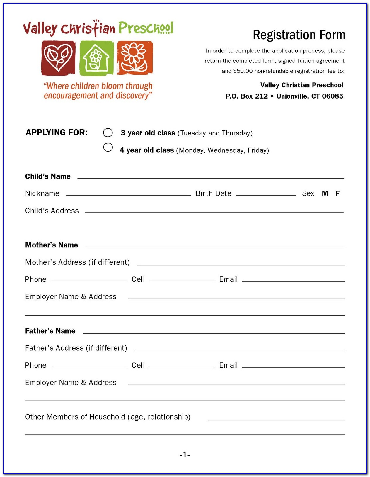 Pre School Application Form Template