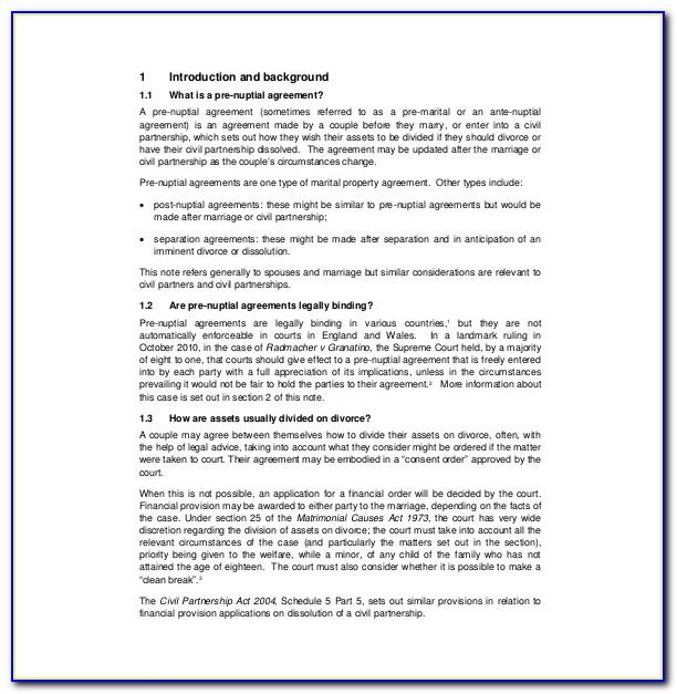 Prenuptial Agreement California Example