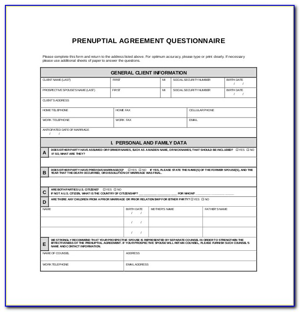 Prenuptial Agreement Template Florida