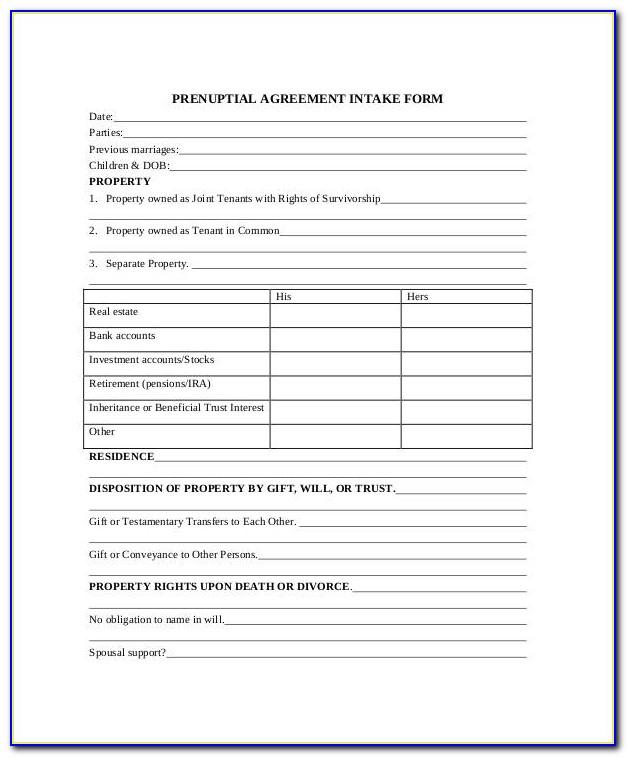 Prenuptial Agreement Template Free Australia