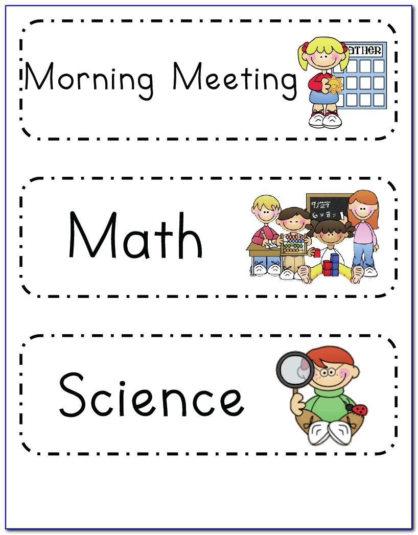 Preschool Classroom Daily Schedule Template