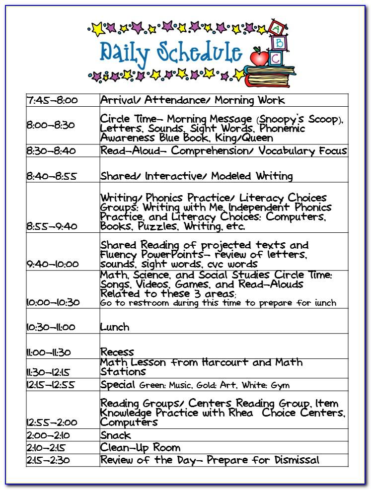 Preschool Daily Routine Template