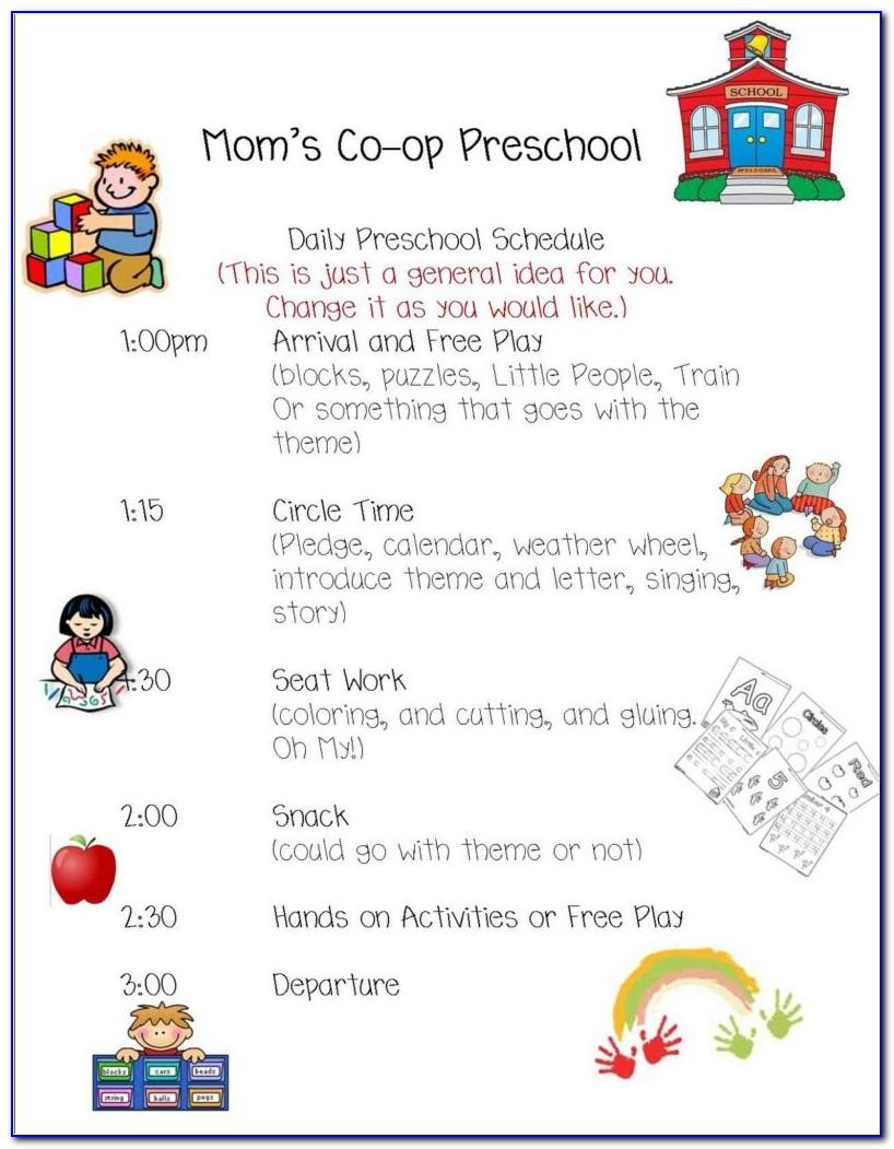 Preschool Daily Schedule Template Free