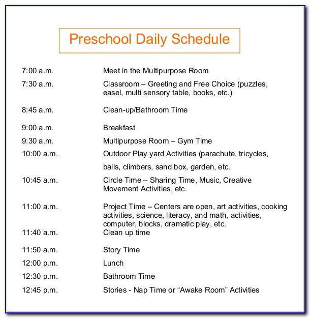 Preschool Daily Schedule Template Printable