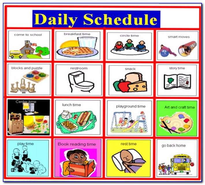Preschool Daily Schedule Template With Pictures
