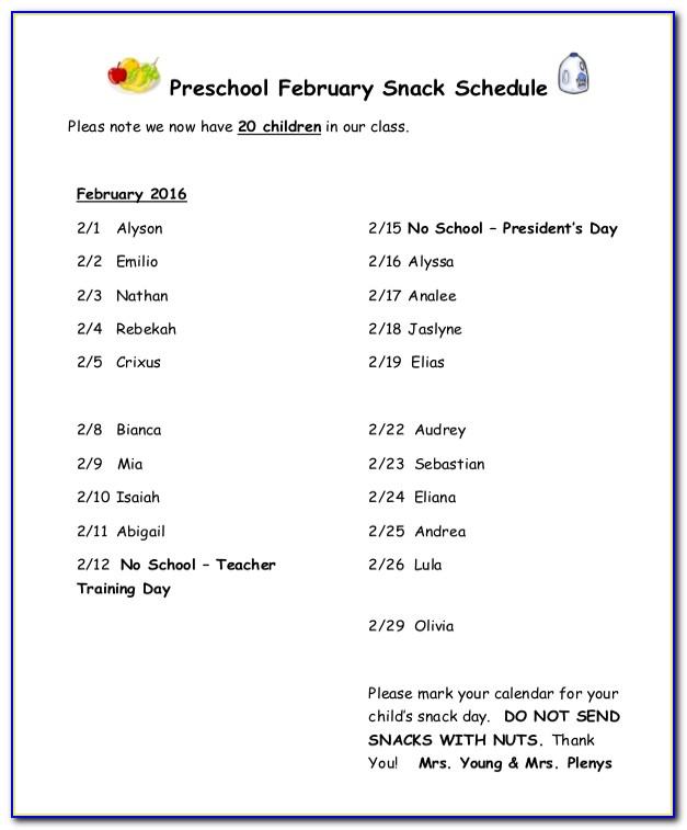 Preschool Snack Calendar Template