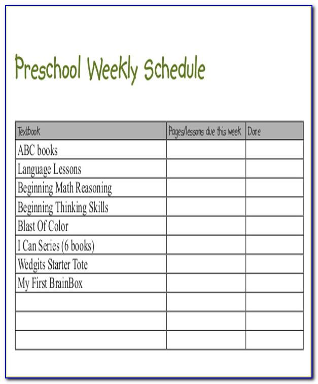 Preschool Weekly Schedule Template