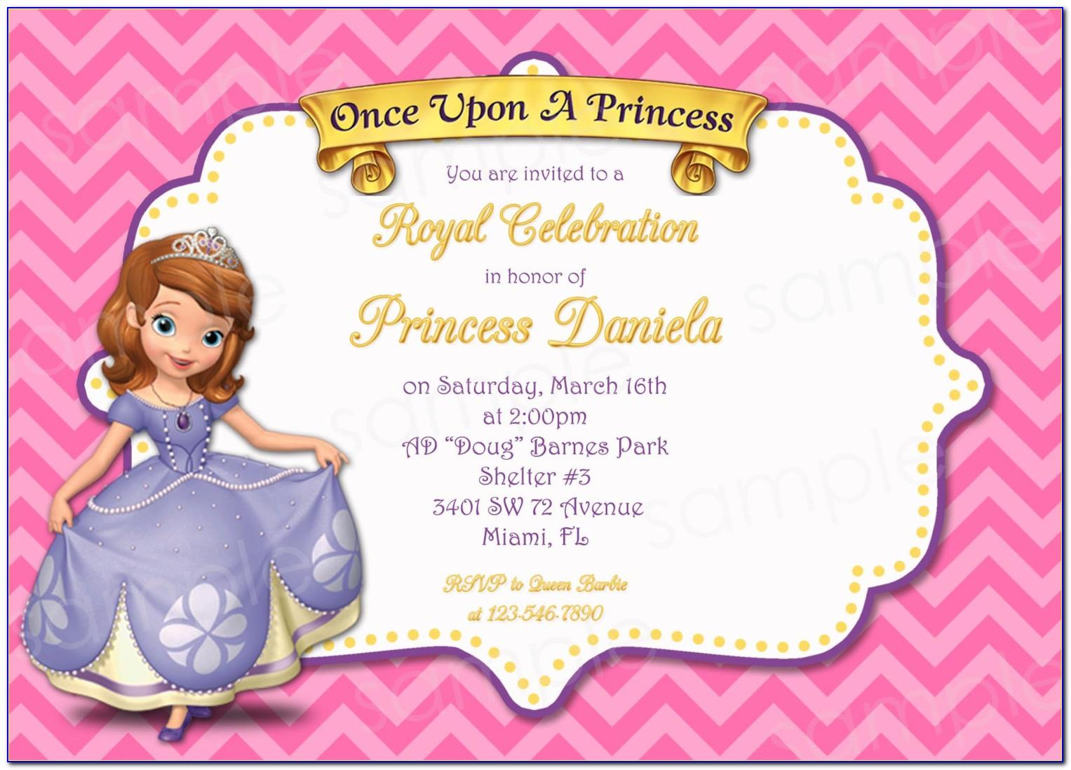 Princess Sofia Invitations Template Free