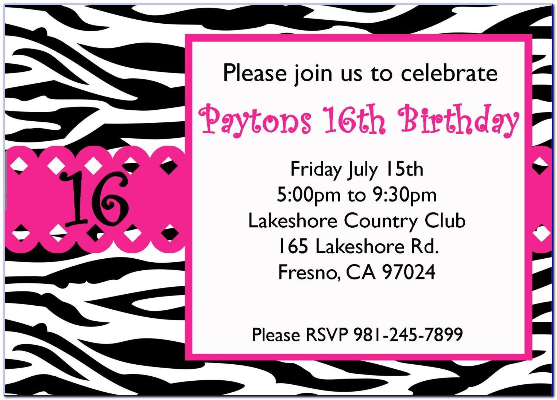 Printable 16 Th Birthday Invitation Templates