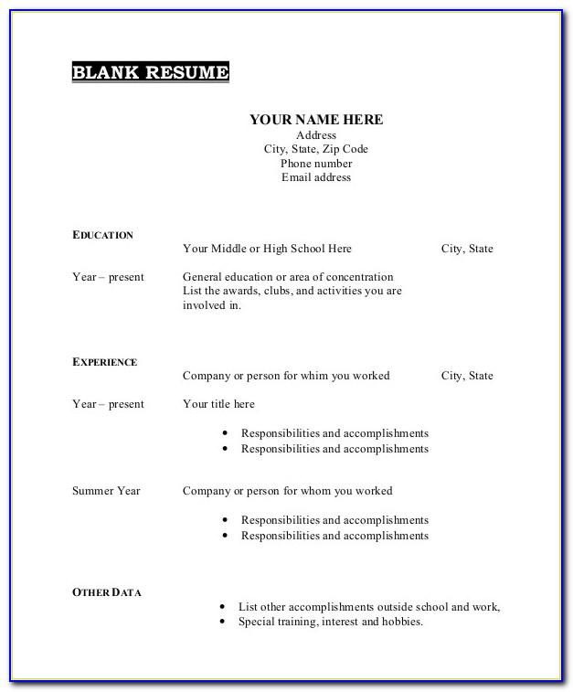 Printable Blank Resume Template Free
