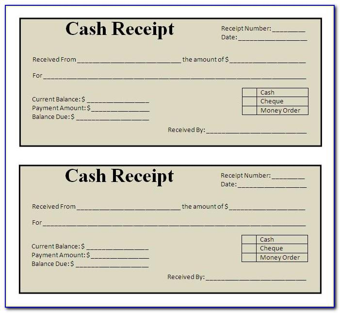 Printable Cash Receipt Template Word