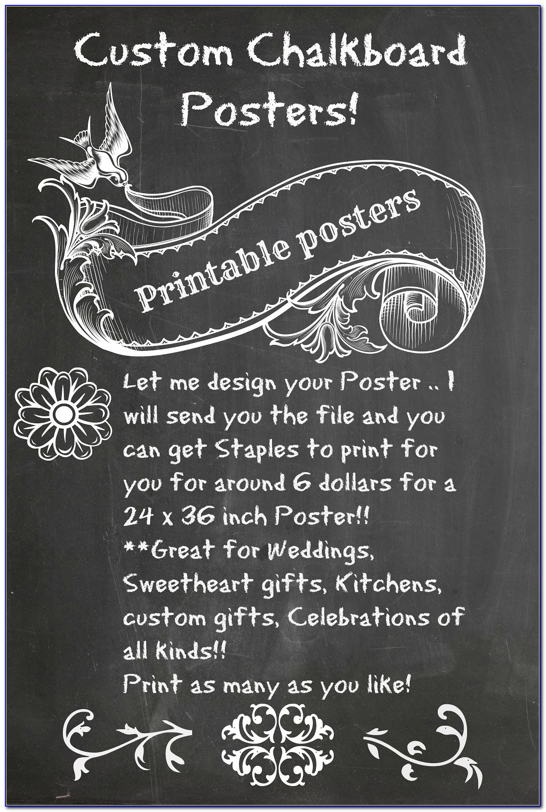 Printable Chalkboard Poster Template