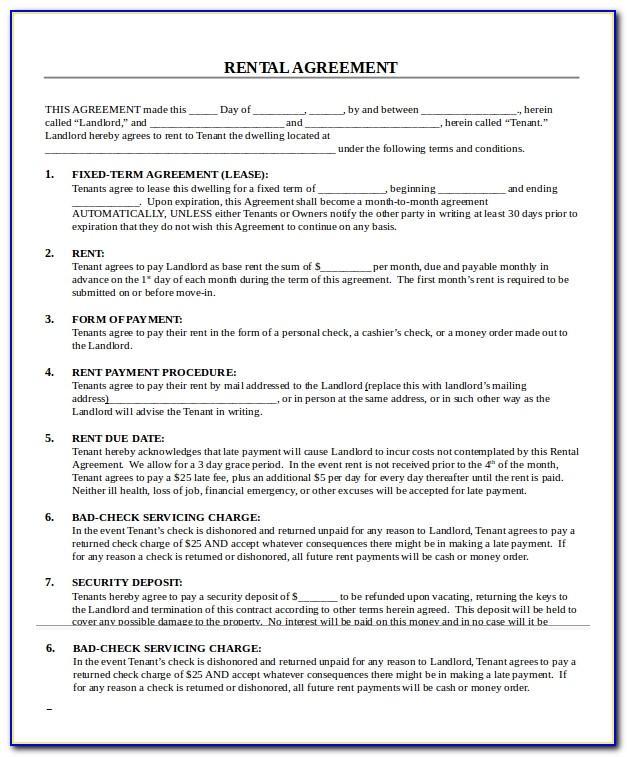 Printable Downloadable Rental Agreement Template