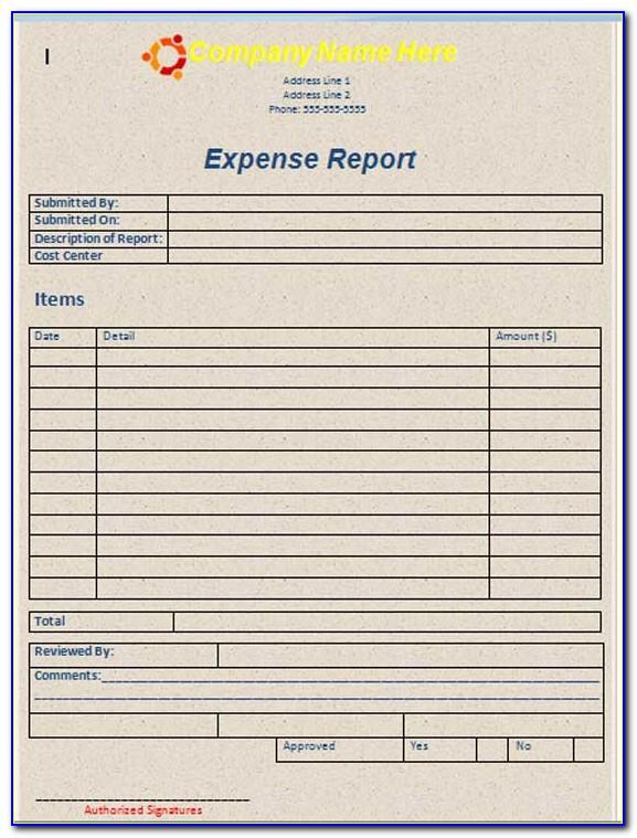 Printable Expense Report Form